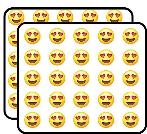 Heart Eyes Emoji in Love Sticker for Scrapbooking, Calendars, Arts, Kids DIY Crafts, Album, Bullet Journals 50 Pack