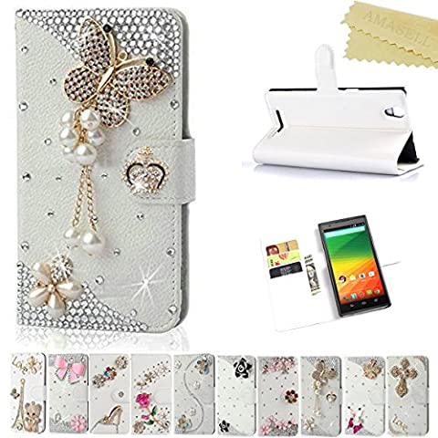 ZTE ZMAX Case, AMASELL Glitter Bling Handmade Diamonds [Stand View] PU Leather Flip Cover with Card Slots Holder Folio Wallet Cases for ZTE ZMAX / ZTE Z970, pearl (Zte Zmax Phone Cases With Pearls)