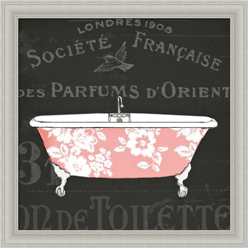 Chalkboard Bath II by Sue Schlabach Pink Grey Bathroom Decor 14x14 Framed Art Print Wall Decor