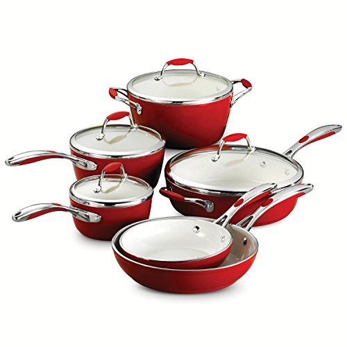 Tramontina 80110/202DS Gourmet Ceramica Deluxe Cookware Set, PFOA- PTFE- Lead and Cadmium-Free Ceramic Exterior & Interior, 10-Piece, Metallic Red, Made in Italy