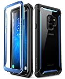 i-Blason Case for Galaxy S9 2018 Release, [Ares] Full-body Rugged Clear Bumper Case with Built-in Screen Protector (Black/Blue)