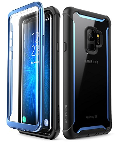 i-Blason Case for Galaxy S9 2018 Release, [Ares] Full-body Rugged Clear Bumper Case with Built-in Screen Protector (Black/Blue) -