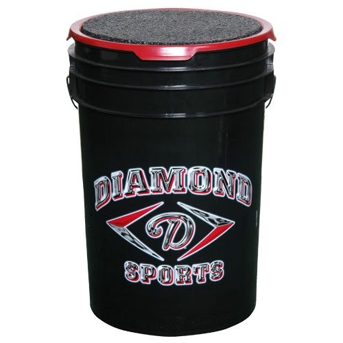 Diamond Sports 6-Gallon Ball Bucket with Lid, (Black Ball Bucket)