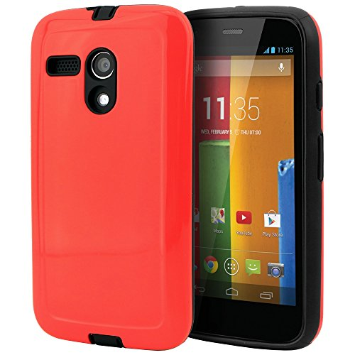 Moto G Case, CellJoy® [Armor Shell] [Red] Motorola Moto G 1st Generation XT1032 Only Case Hybrid Ultra Fit [TPU] Dual Protection **Shockproof** Slim Cover Hard Case for Moto G