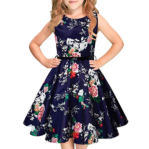 Funnycokid 12-13 Year Old Girls Flower Sleeveless Pleated 50s Vintage Swing Dress with -