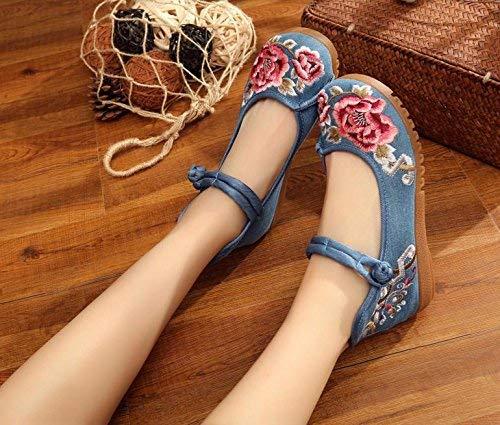 Fuxitoggo Bestickte Schuhe Sehnensohle Sehnensohle Schuhe ethnischer Stil weibliche Stoffschuhe Mode bequem lässig blau 42 (Farbe   - Größe   -) e7de06