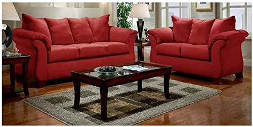 Flash Furniture Exceptional Designs by Flash Living Room Set in Sensations Red Brick Microfiber