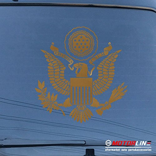 3S MOTORLINE Great Seal Eagle of United States Decal Sticker Car Vinyl Coat of Arms no bkgrd a (gold, 6'' ()