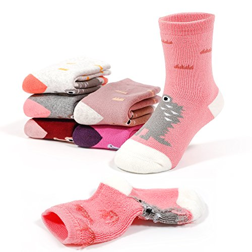 Price comparison product image Girls Winter Thick Cotton Socks Kids Warm Lovely Animal Socks 6 Pack For 2T/3T/4T