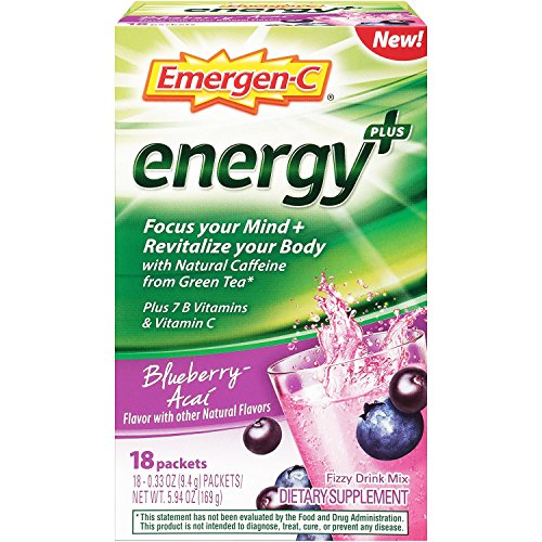 Emergen-C Energy+ Dietary Supplement Drink Mix with Caffeine, 0.33 Ounce Packets (Blueberry-Acai Flavor, 18 Count)