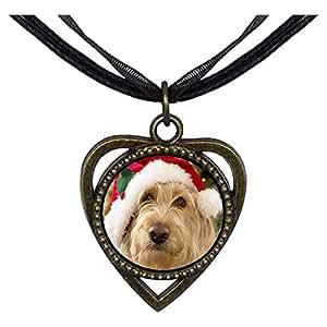 Chicforest Bronze Retro Style Golden Retriever Santa Heart Shaped Pendant