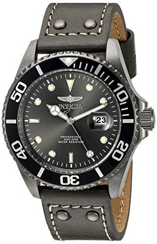 Invicta 22077- Reloj de pulsera analógico de acero inoxidable, redondo, dial de cristal, correa negra
