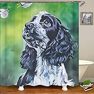 SARA NELL Shower Curtains Black and White English Cocker Spaniel Butterfly Oil Painting Shower Curtain Fabric Waterproof Fabric Bathroom Curtain Set with 12 Hooks - 72 x 72 Inch 4