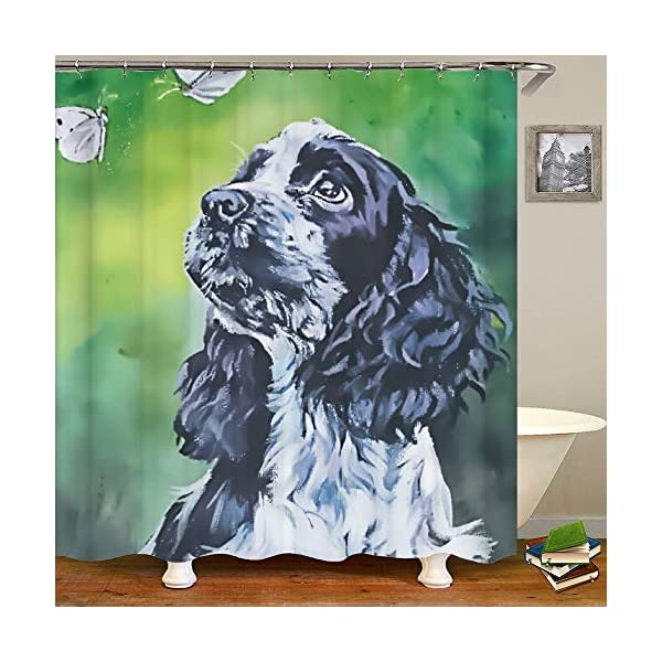 SARA NELL Shower Curtains Black and White English Cocker Spaniel Butterfly Oil Painting Shower Curtain Fabric Waterproof Fabric Bathroom Curtain Set with 12 Hooks - 72 x 72 Inch 1