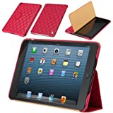 Jisoncase Quilted Genuine Leather Smart Cover Case for iPad mini JS-IM-002D-Rose