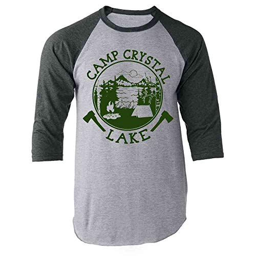 Pop Threads Camp Crystal Lake Counselor Shirt Costume Staff Gray L Raglan Baseball Tee Shirt]()