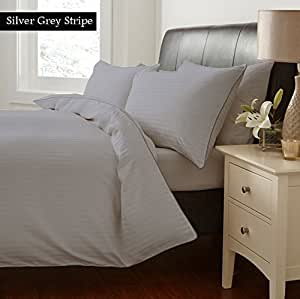 "100% Egyptian Cotton Sheet Set With 22"" Deep Pocket 300 Thread Count Stripe Twin XL , Silver Grey Created By Linen Delux"