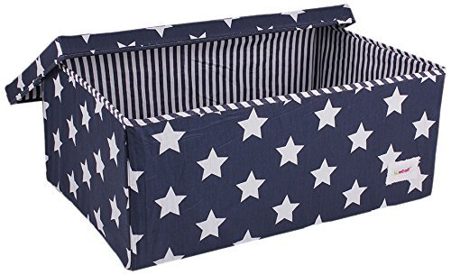 Minene Large Storage Box with Lid Blue Star - star storage box, large fabric storage box - great for toy storage, kids storage by Minene by Minene