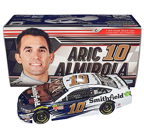 AUTOGRAPHED 2018 Aric Almirola #10 Smithfield Team (Stewart-Haas Racing) Monster Energy Cup Series COLOR CHROME FINISH Signed Lionel 1/24 Scale NASCAR Diecast Car with COA (#06 of only 72 produced!)
