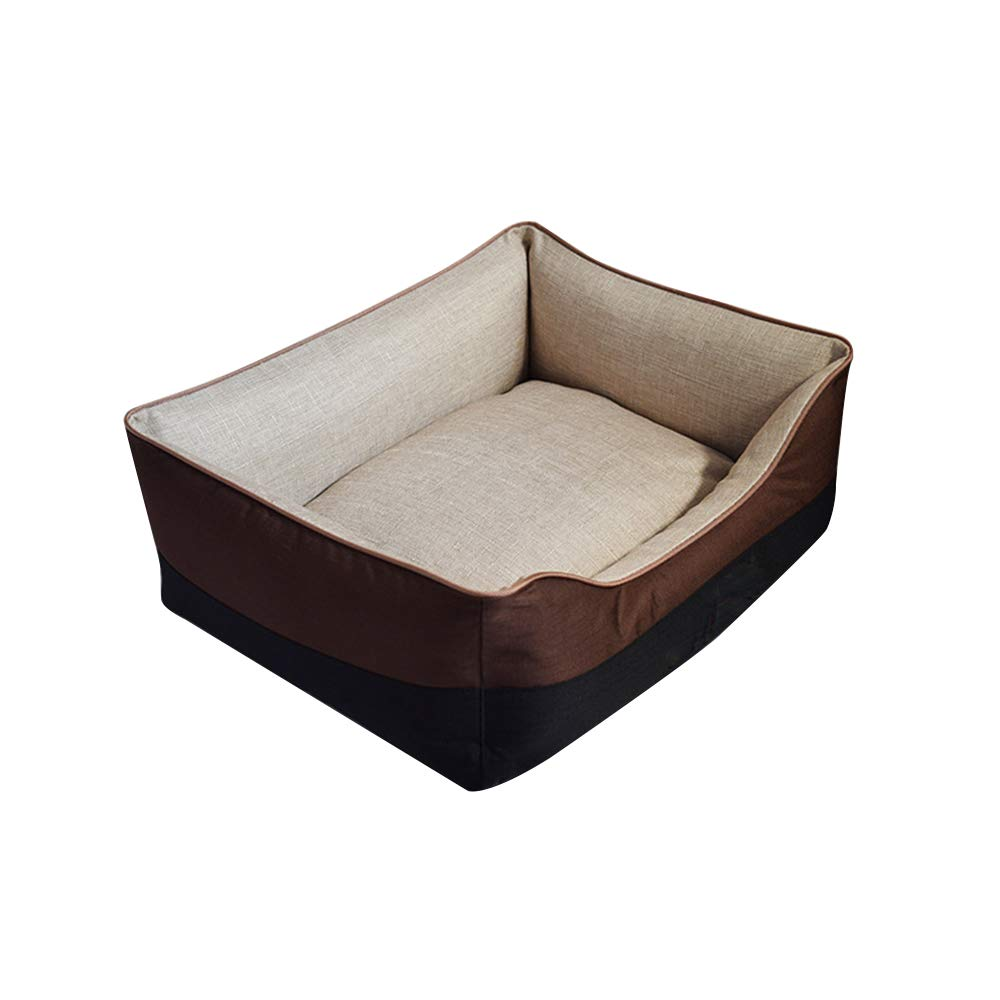 Brown Small brown Small Imitation Linen Four Seasons Kennel Removable and Washable pet Bed Dog pad pet Supplies,Brown,S