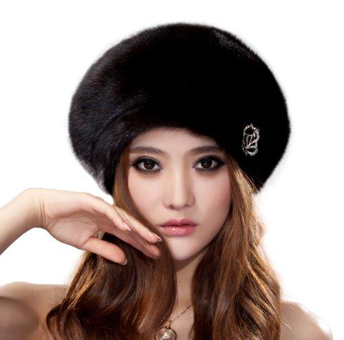 (URSFUR Ladies Mink Fur Beret Hat (Brown Natural)