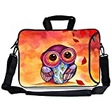 Kitron(TM)12.9-13.3 Inches Cute Colorful Cartoon Owl Design Ultraportable Waterproof Neoprene Sleeve 13-13.3 Inch Laptop / Notebook Computer / Macbook Air / Macbook Pro / Macbook Sleeve Office Tote Briefcase Carry Case Bag(13-13.3 Inches) with Extra Side Pocket, Soft Carrying Handle & Removable Shoulder Strap for Chromebook Ultrabook Macbook Pro Air HP Dell Acer Sony Lenovo IBM Samsung