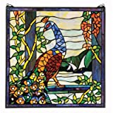 Design Toscano The Peacock's Garden Stained Glass Window