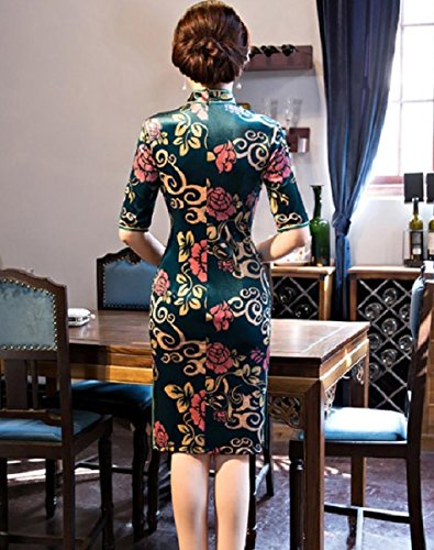 Green Split Printed Dress Women Bodycon Half Blackish Sleeve Bandage Coolred Cheongsam TvBOwqf