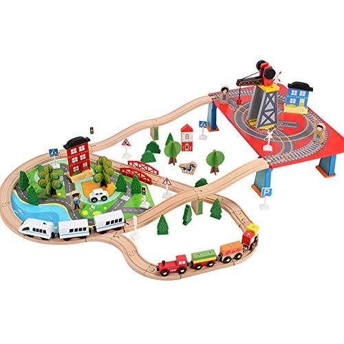 (MXMYFF DIY Assembled Adventure City Wooden Train Track Set for Kids, Classic Rail Activity Set and Accessories (88PCS))