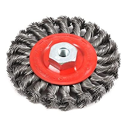 4-Inch-by-.020-Inch Forney 72784 Wire Wheel Brush Twist Knot with M10 by 1.25 Arbor