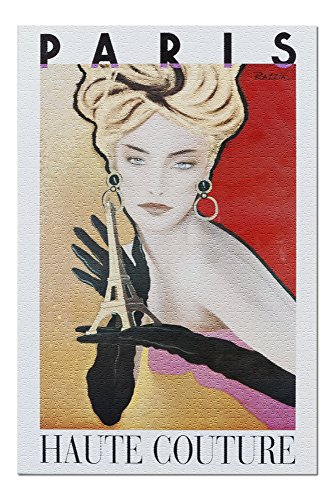 Paris - Haute Couture (artist: Razzia) Vintage Advertisement (20x30 Premium 1000 Piece Jigsaw Puzzle, Made in USA!)
