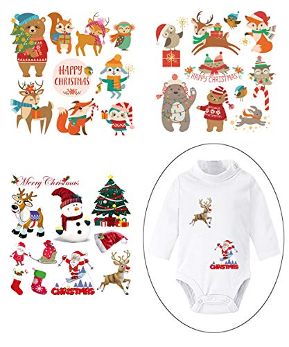Christmas Iron On Stickers Patches for Kids Heat Transfer Appliques with Christmas Animals Motif Washable Decor for Baby Dress,Adult Dress (Christmas Iron On Transfers For T Shirts)