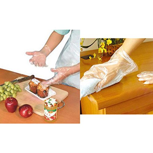 OUNONA 500pcs Disposable PE Gloves for Home Kitchen/Restaurant/Cooking/Industrial/Medical/Cleaning(Plastic)