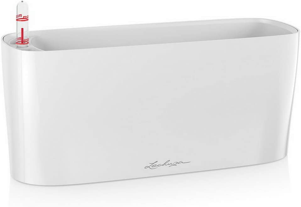 Lechuza 15460 Delta 10 Self-Watering Garden Planter for Indoor and Outdoor Use, 30cm, White High Gloss