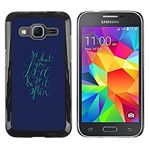 LECELL--Funda protectora / Cubierta / Piel For Samsung Galaxy Core Prime SM-G360 -- Text Love Teal Navy Blue Valentines --