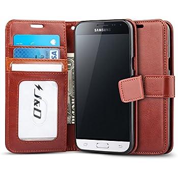 Galaxy J3 2016 Case, J&D [Wallet Stand] Samsung Galaxy J3 Wallet Case Heavy Duty Protective Shock Resistant Case for Samsung Galaxy J3/Galaxy J3 2016/Galaxy J3 V - Brown
