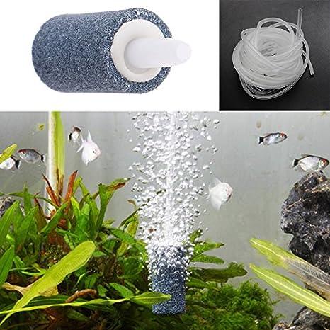 JAGETRADE Decoración de tanque de peces, piedra de burbujas de aire, acuario, pecera, aireador, bomba de hidróponía, difusor de oxígeno caliente, marrón, ...