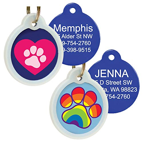 Unique Cute Pet Tags Personalized w/ 4 Lines of Custom Engraved Text. Dog & Cat Collar ID Tags Come w/Glow in The Dark Silencer to Protect Tag & Engraving. Various Designs. (Heart w/Paw)