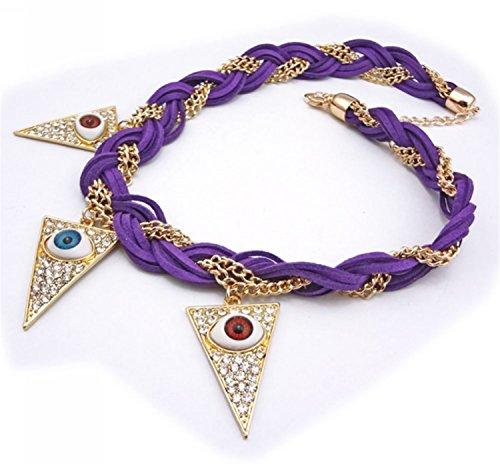(Wiipu Chunky Braid Chain Rhinestone Lifelike Evil Eye Triangle Bib Necklace(F239))
