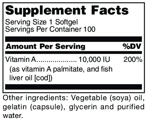 Douglas Laboratories® Vitamin A 10,000 I.U. Vitamin A Derived from Fish Liver Oil 100 Softgels