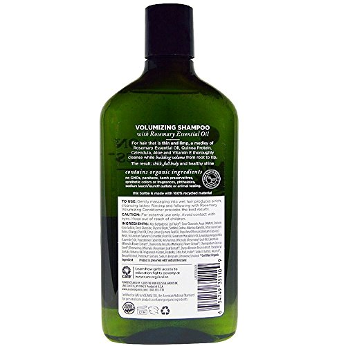 Avalon Organics Volumizing Shampoo, Rosemary 11 oz (Pack of 3) (Avalon Rosemary Volumizing Shampoo From Avalon Organics)