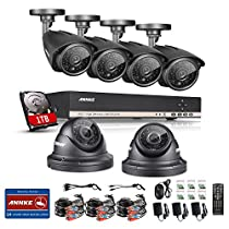 Annke 8CH 1080N HD Surveillance Digital Video Recorder with 1TB Hard Disk and (6) HD 960P 1.3MP CCTV Cameras, Waterproof Night vision, Smart Motion Detection, E-mail Alert