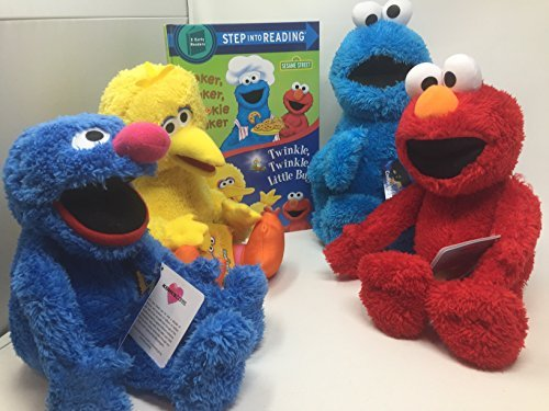 Sesame Street Kohls Cares Elmo Cookie Monster, Grover and Big Bird Plush Toy with Book Bundle