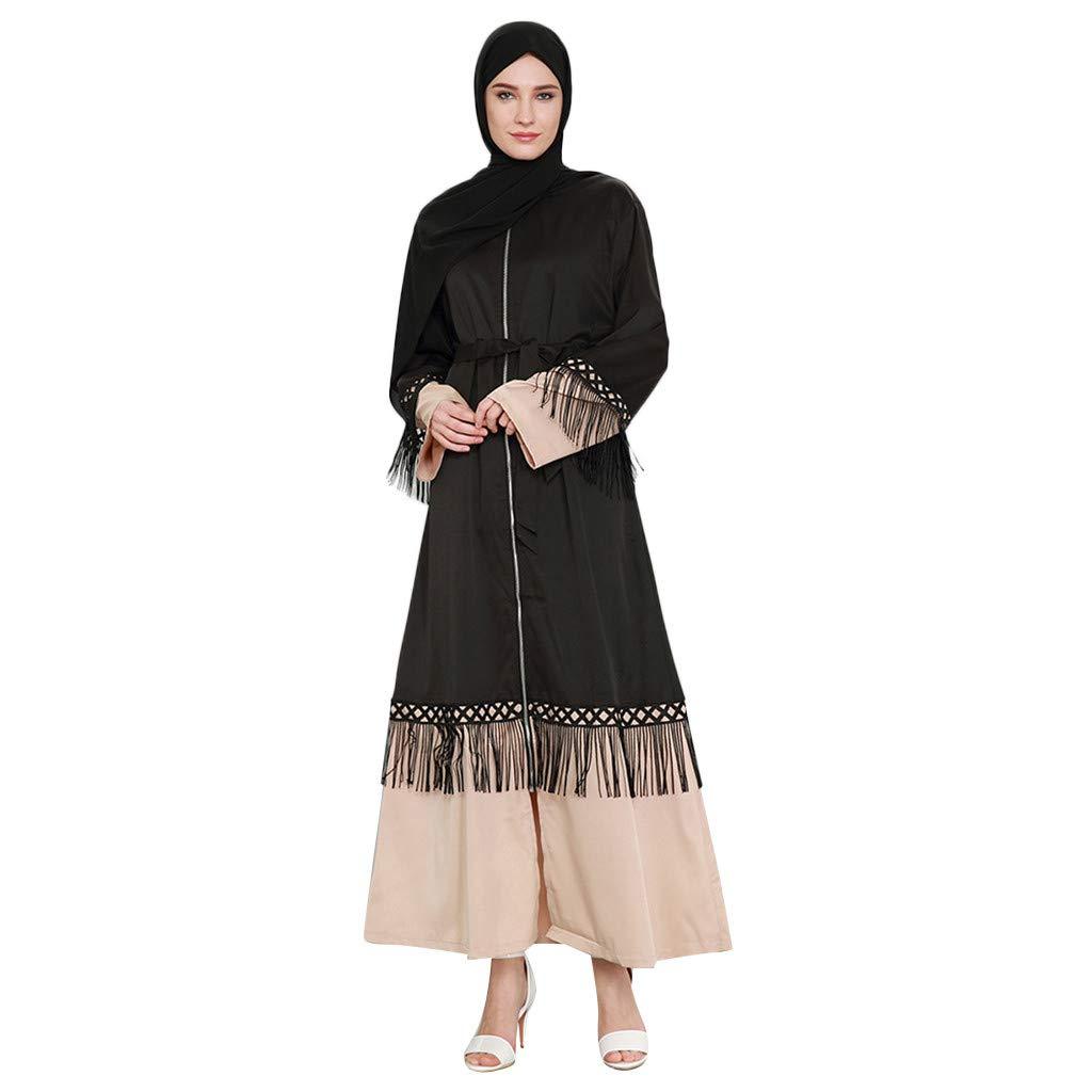 Randolly Women's DressesMy Batua Abay Jilbab Islamic Clothing Maxi Muslim Tassel Lace Dress Zip Cardigan