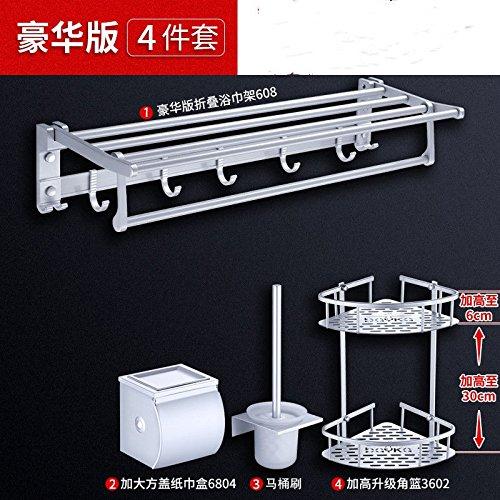 Yomiokla Bathroom Accessories - Kitchen, Toilet, Balcony and Bathroom Metal Towel Ring Space Aluminum Mount in a Hole in Bracket kit B