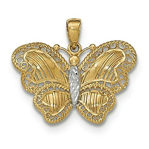 Or 14carats et rhodium buttlerfly en pendentif
