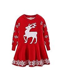 Mud Kingdom Girl Knit Dress Long Sleeve Reindeer