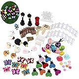 Yuchoi Perfectly Shaped 58 Pcs/Set Miniature Fairy Garden Ornament Dollhouse DIY Kit Décor
