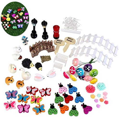 Yuchoi Perfectly Shaped 58 Pcs/Set Miniature Fairy Garden Ornament Dollhouse DIY Kit Décor by Yuchoi