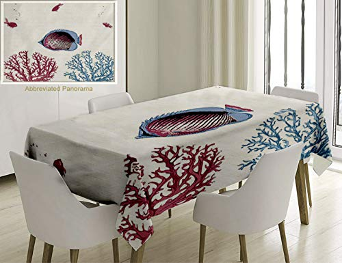 - Unique Custom Cotton And Linen Blend Tablecloth Coral Illustration Of Tropical Fish Sea Plants Aquarium Oceanic Wildlife Under The Sea Light Blue PinkTablecovers For Rectangle Tables, 86 x 55 Inches
